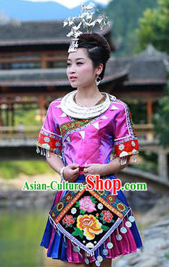 Traditional Chinese Miao Minority Nationality Costume Hmong Folk Dance Purple Dress for Women
