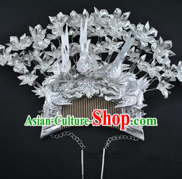 Traditional Chinese Miao Nationality Hairpins Hair Accessories Sliver Hair Comb Headwear for Women