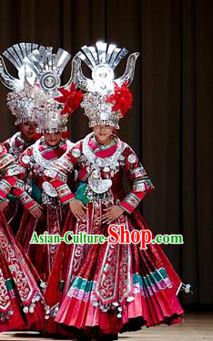 Traditional Chinese Miao Minority Nationality Costume Hmong Folk Dance Red Dress for Women