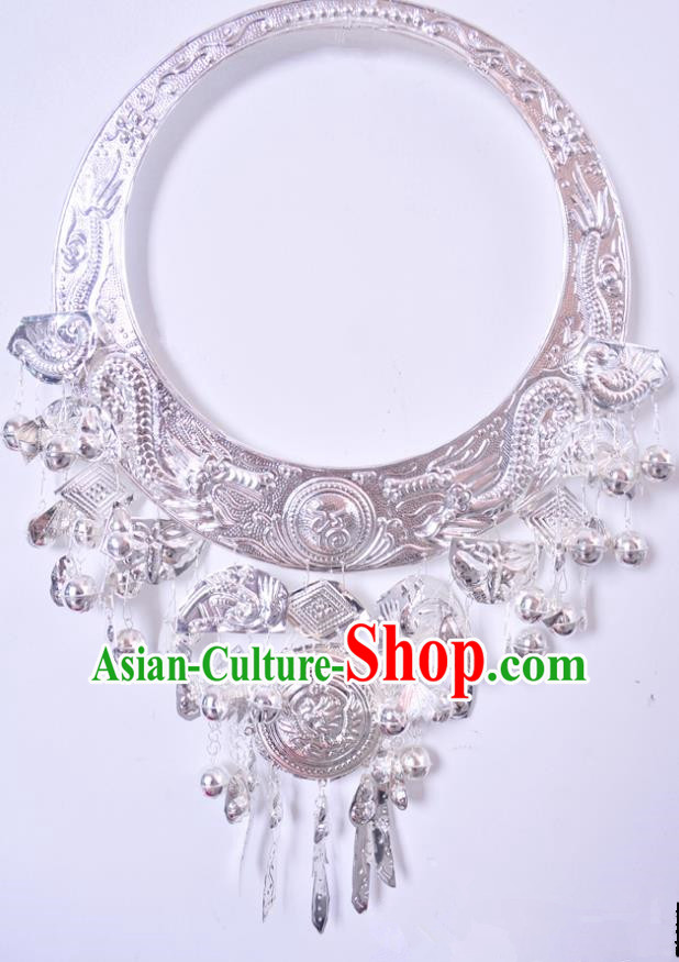 Traditional Chinese Miao Nationality Accessories Necklet Hmong Sliver Necklace for Women