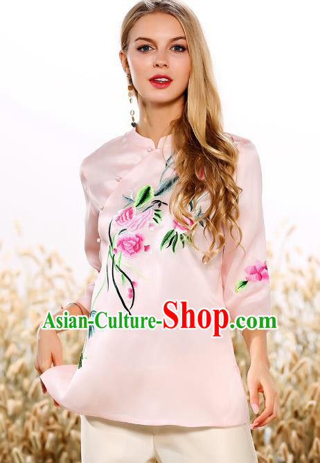 Chinese National Costume Tang Suit Qipao Pink Blouse Traditional Embroidered Peony Shirts for Women