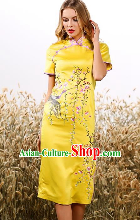 Chinese National Costume Tang Suit Yellow Qipao Dress Traditional Embroidered Cheongsam for Women
