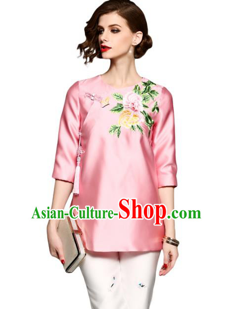 Chinese National Costume Tang Suit Qipao Shirts Traditional Embroidered Peony Pink Blouse for Women