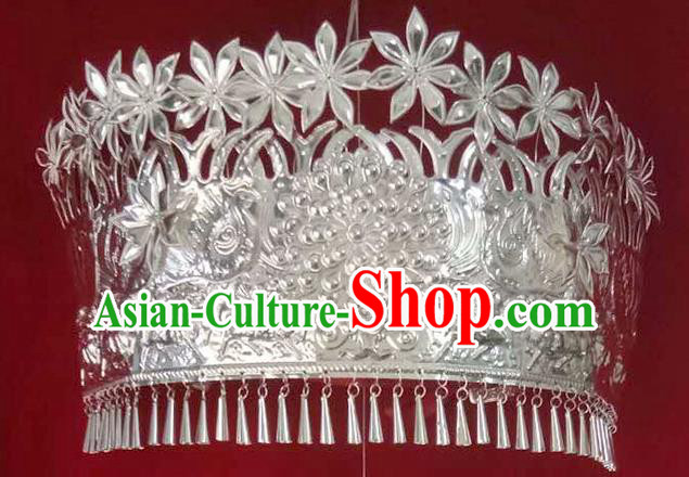 Traditional Chinese Miao Nationality Headwear Hmong Female Hair Accessories Sliver Crown for Women