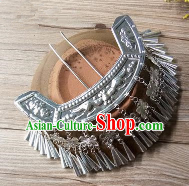 Traditional Chinese Miao Nationality Hair Accessories Tassel Sliver Hairpins Hmong Hair Clip Headwear for Women