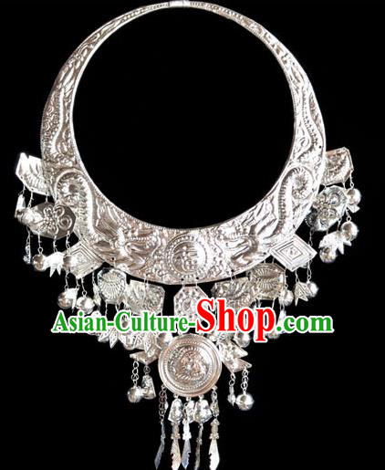 Traditional Chinese Miao Nationality Necklet Hmong Female Accessories Sliver Necklace for Women