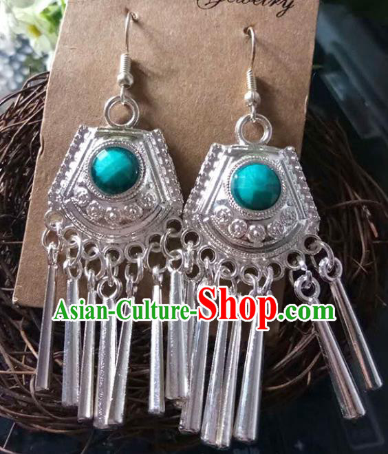 Traditional Chinese Miao Nationality Tassel Earrings Hmong Female Accessories Sliver Eardrop for Women