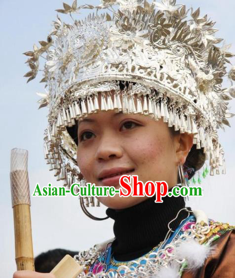 Traditional Chinese Miao Nationality Tassel Phoenix Coronet Hair Accessories Sliver Crown Headwear for Women