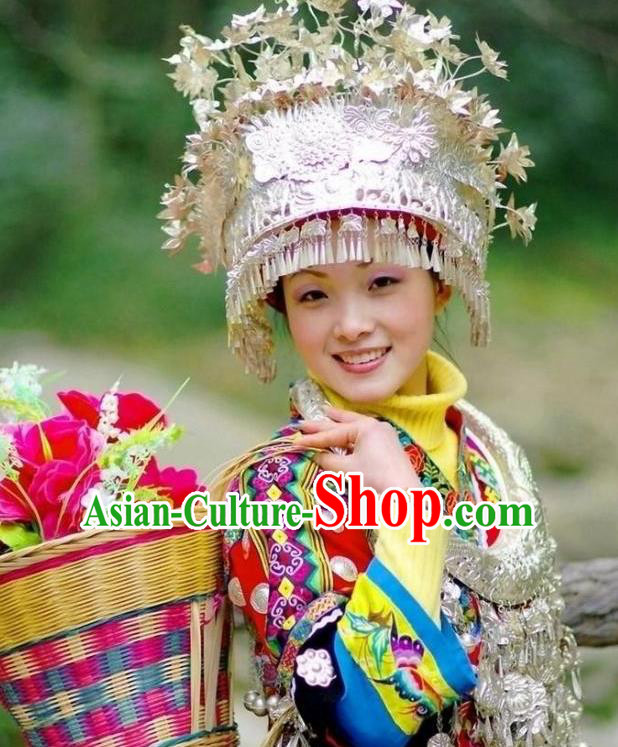 Traditional Chinese Miao Nationality Tassel Phoenix Coronet Hats Hair Accessories Sliver Crown Headwear for Women