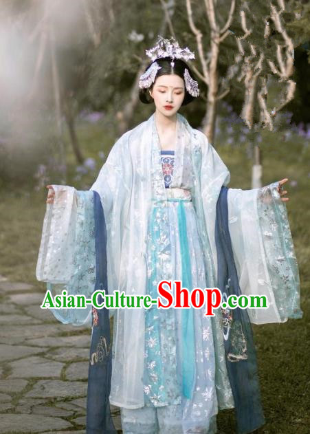 Chinese Ancient Tang Dynasty Nobility Lady Embroidered Hanfu Dress Costume Complete Set for Women