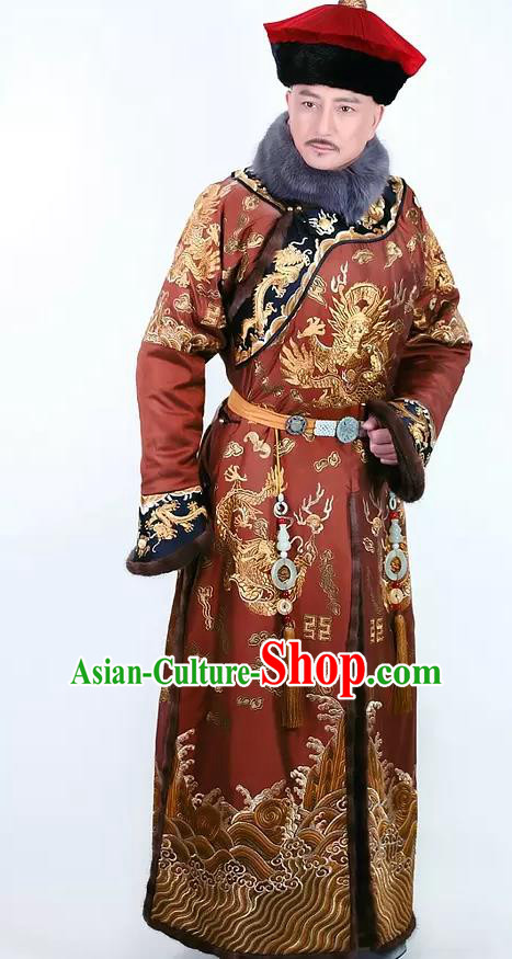Chinese Ancient Qianlong Emperor Historical Costume China Qing Dynasty Majesty Embroidered Clothing