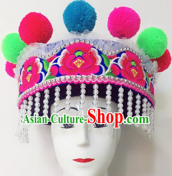 Traditional Chinese Zhuang Nationality Dance Hair Accessories Hats Yi Ethnic Minority Headwear for Women