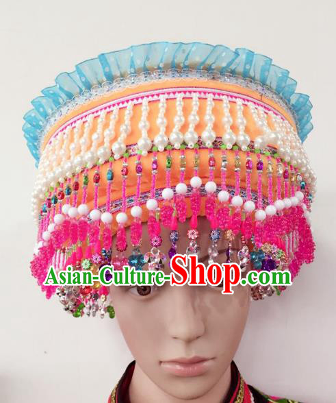 Traditional Chinese Zhuang Nationality Hair Accessories Hats Yi Ethnic Minority Headwear for Women