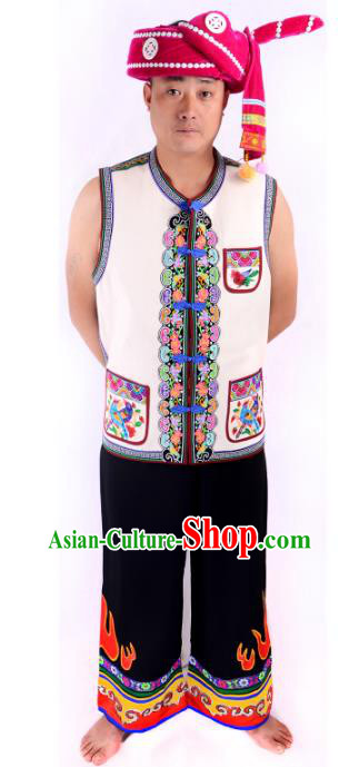 Traditional Chinese Yi Nationality Dance Costume China Ethnic Minority Embroidered Clothing for Men