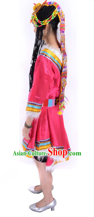 Traditional Chinese Zang Nationality Red Costume China Tibetan Ethnic Minority Dress for Women