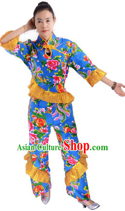 Traditional Chinese Yangge Fan Dance Costume, China Folk Dance Yangko Blue Clothing for Women