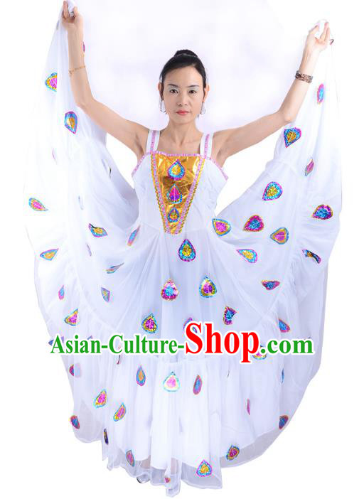 Traditional Chinese Pavane Dance Costume, China Folk Dance Peacock Dance Dress Clothing for Women