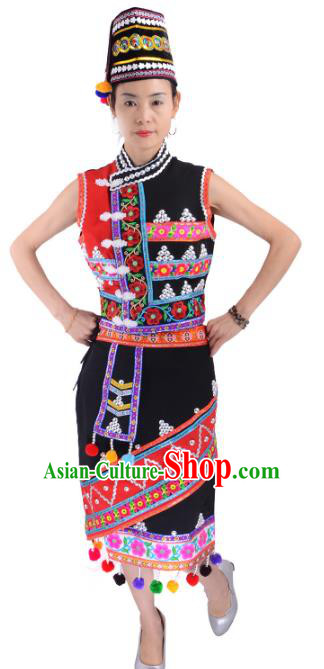 Traditional Chinese Gaoshan Nationality Dance Costume, Female Folk Dance Ethnic Minority Embroidery Clothing for Women