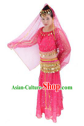 Traditional India Folk Dance Costume, Indian Female Dance Rosy Dress for Women