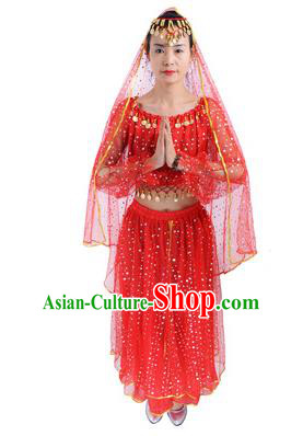 Traditional India Folk Dance Costume, Indian Female Dance Red Dress for Women