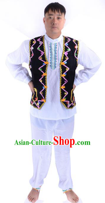 Traditional Chinese Uyghur Nationality Dance Costume, Chinese Uigurian Minority Folk Dance Clothing for Men