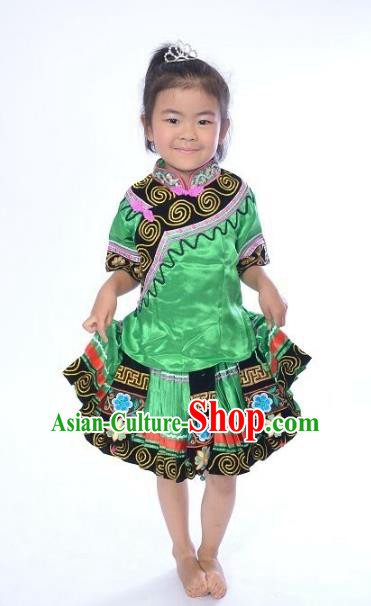 Traditional Chinese Yi Nationality Dance Costume, Folk Dance Ethnic Dance Green Dress for Kids