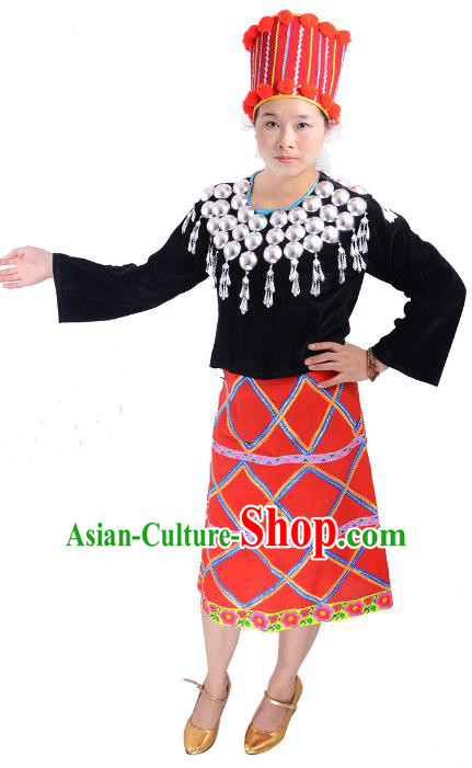 Traditional Chinese Jingpo Nationality Folk Dance Costume China Ethnic Minority Dress for Women