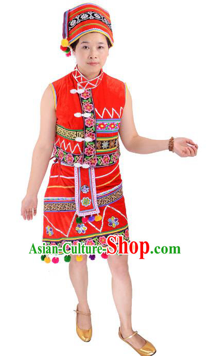 Traditional Chinese Gaoshan Nationality Folk Dance Costume China Ethnic Minority Red Dress for Women