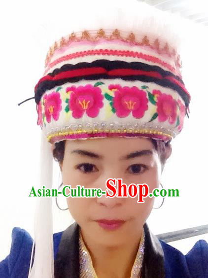 Traditional Chinese Bai Nationality Hair Accessories Embroidered Hats Ethnic Minority Headwear for Women