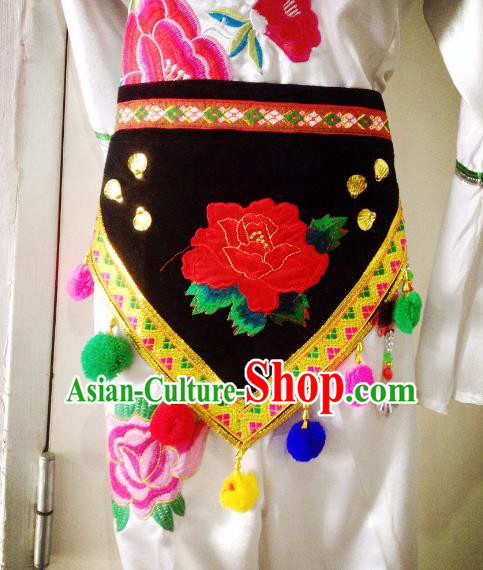 Traditional Chinese Bai Nationality Waist Accessories Embroidered Waistband Ethnic Minority Apron for Women