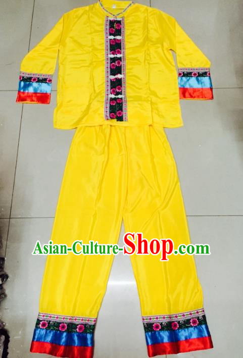 Traditional Chinese Dai Nationality Costume, China Dai Ethnic Folk Dance Clothing for Men