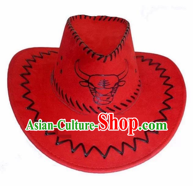 Traditional Chinese Zang Nationality Hair Accessories Tibetan Ethnic Minority Red Hats Headwear for Men