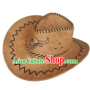 Traditional Chinese Zang Nationality Hair Accessories Tibetan Ethnic Minority Khaki Hats Headwear for Men