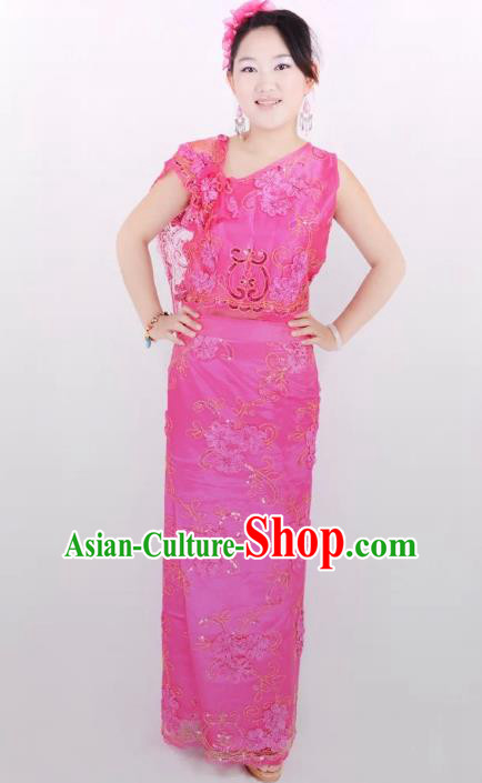 Traditional Chinese Dai Nationality Peacock Dance Costume, Folk Dance Ethnic Pavane Rosy Dress for Women