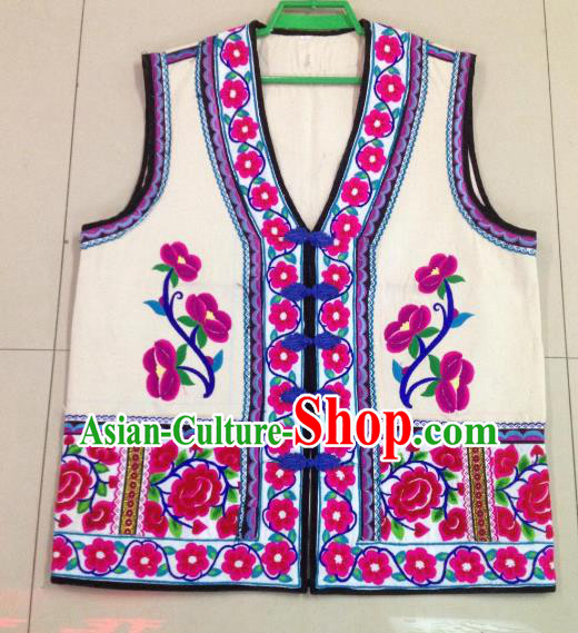 Traditional Chinese Bai Nationality Costume Ethnic Folk Dance Clothing Embroidered White Vests for Men