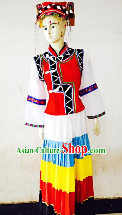 Traditional Chinese Yi Nationality Dance Costume, Folk Dance Ethnic Dress for Women