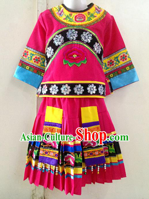 Traditional Chinese Yi Nationality Dance Costume Folk Dance Ethnic Dress for Kids