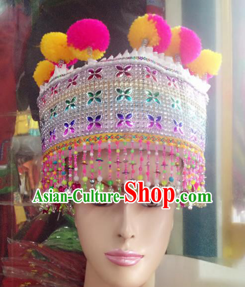 Traditional Chinese Yi Nationality Hair Accessories Ethnic Minority Tassel Hats Headwear for Women