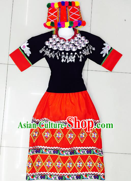 Traditional Chinese Jingpo Nationality Dance Costume Folk Dance Ethnic Clothing for Women