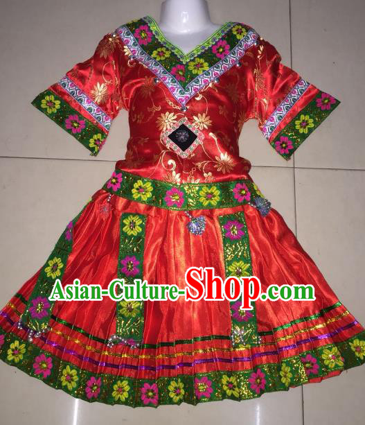 Traditional Chinese Qiang Nationality Performance Embroidered Costume Folk Dance Ethnic Red Dress Clothing for Women