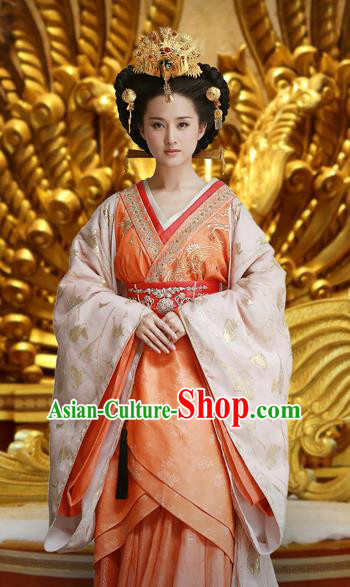 Chinese Ancient Han Dynasty Empress Chen A-jiao Hanfu Dress Replica Costume for Women