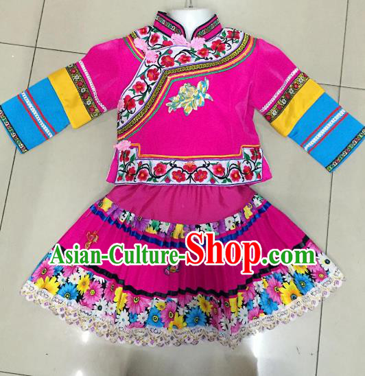 Traditional Chinese Yi Nationality Dance Embroidered Costume Folk Dance Ethnic Rosy Dress Clothing for Kids