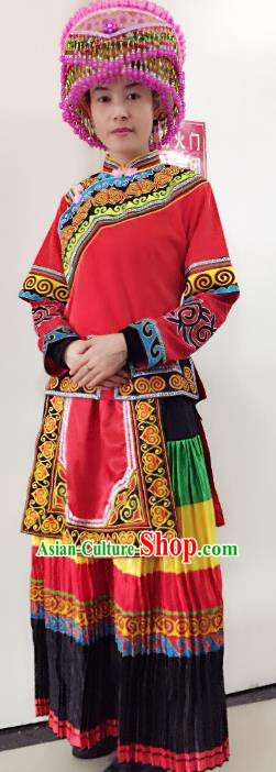 Traditional Chinese Yi Nationality Performance Embroidered Costume Folk Dance Ethnic Red Dress Clothing for Women