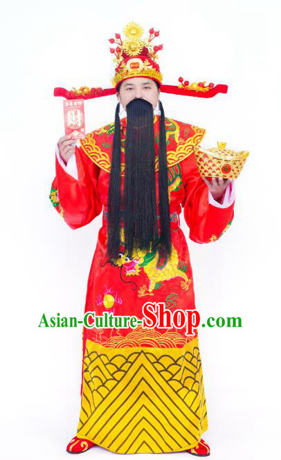 Traditional Chinese Beijing Opera God of Wealth Embroidered Costume Ancient Peking Opera Clothing and Headpiece Complete Set