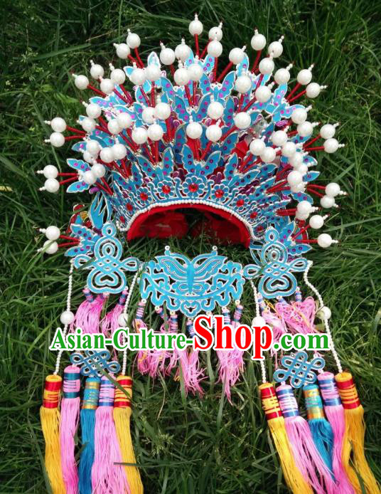 Traditional Chinese Beijing Opera Wedding Hair Accessories Phoenix Coronet Ancient China Peking Opera Bride Hats Headwear