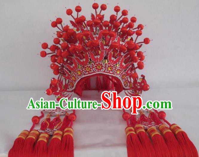 Traditional Chinese Beijing Opera Wedding Hair Accessories Bride Red Phoenix Coronet Ancient China Peking Opera Hats Headwear