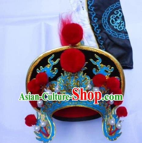 Traditional Chinese Sichuan Opera Black Hats Hair Accessories Peking Opera Headwear