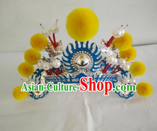 Traditional Chinese Beijing Opera Female Soldier Yellow Venonat Helmet Peking Opera Actress Headwear