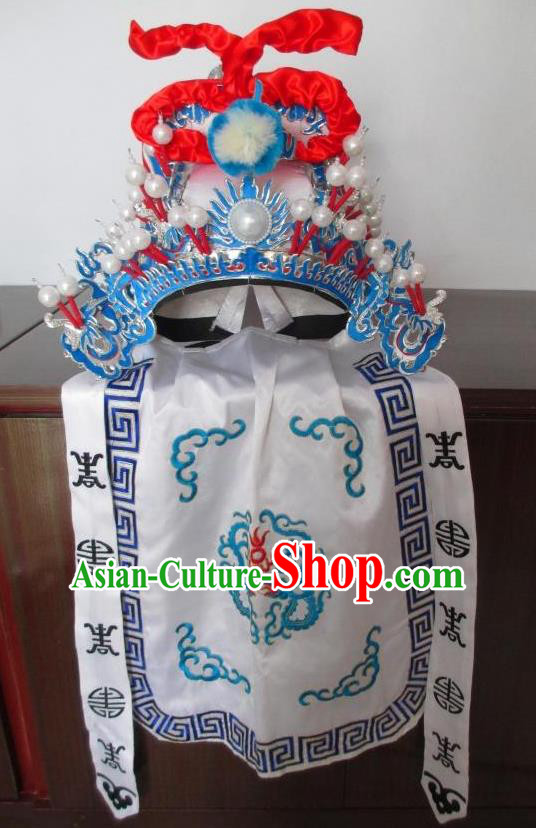 Traditional Chinese Beijing Opera Takefu Hair Accessories Peking Opera White Hats Headwear