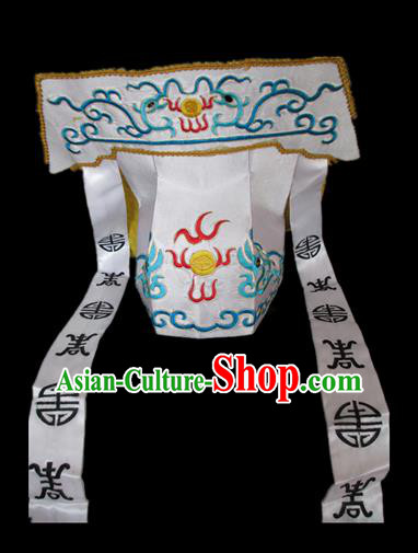 Traditional Chinese Beijing Opera Imperial Bodyguard White Hats Peking Opera Niche Headwear